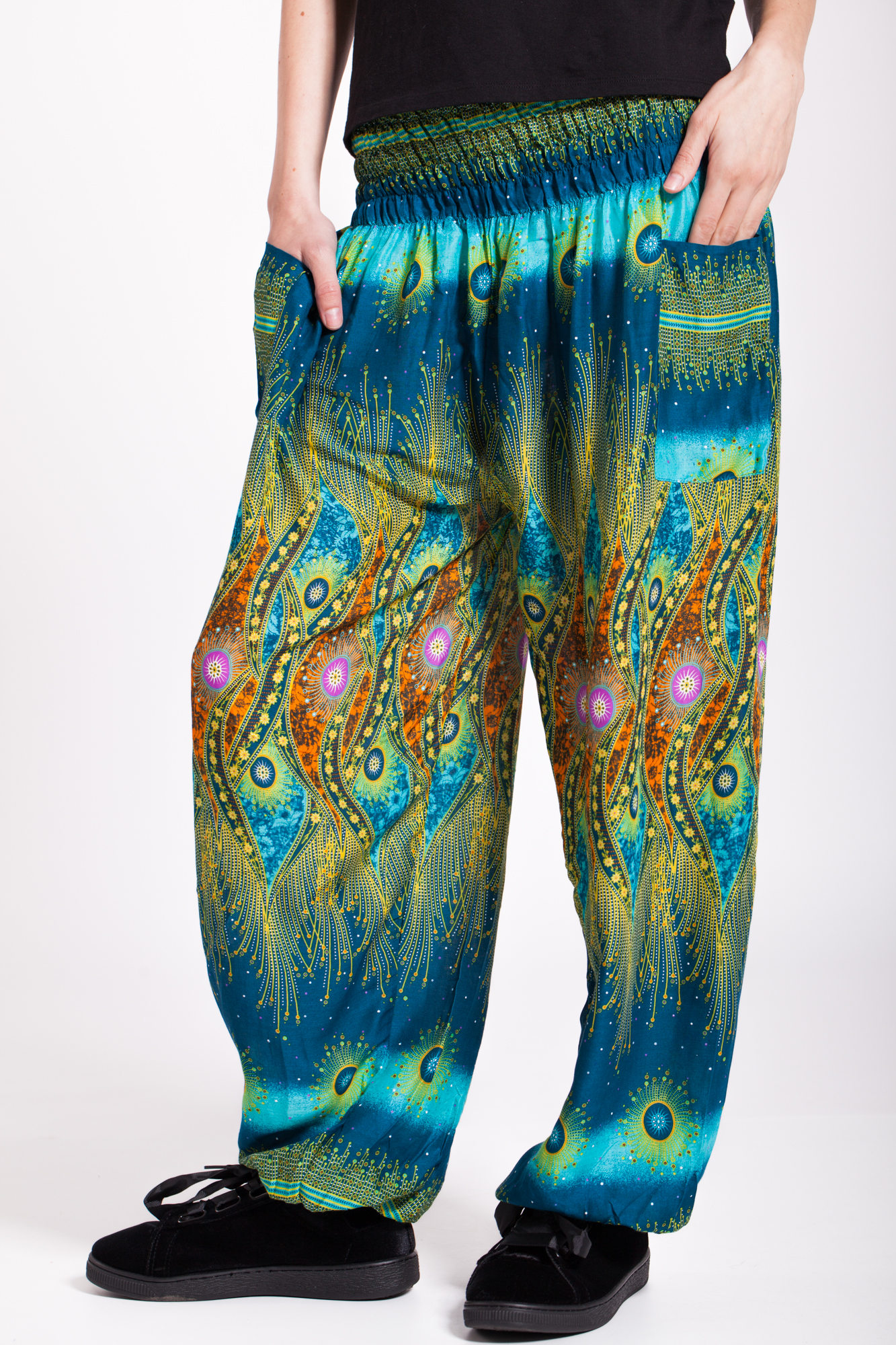 Pantaloni turcoaz Peacock