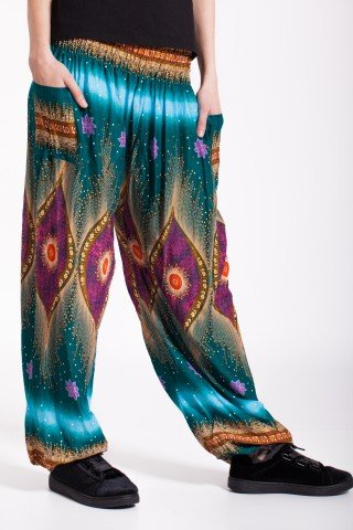 Pantaloni verzi Peacock