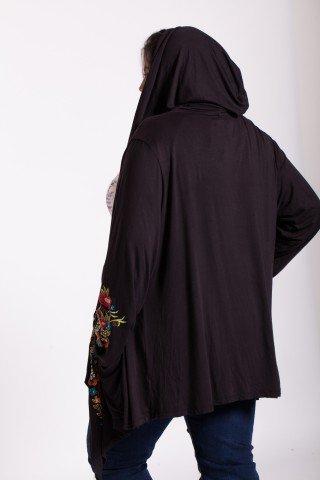 Jacheta neagra din vascoza cu gluga si buzunare