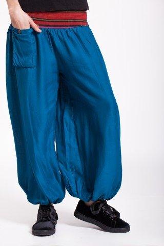Pantaloni albastri vascoza cu brau traditional si buzunar