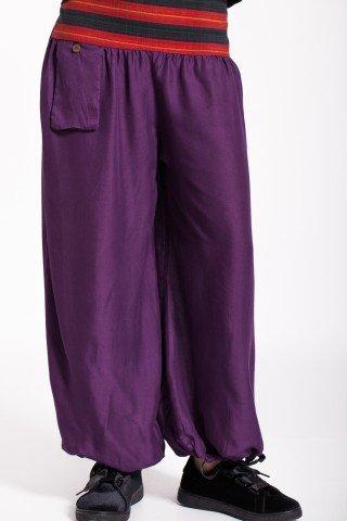 Pantaloni mov vascoza cu brau traditional in dungi si buzunar