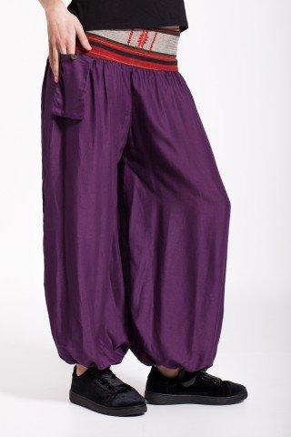 Pantaloni mov vascoza cu brau traditional si buzunar