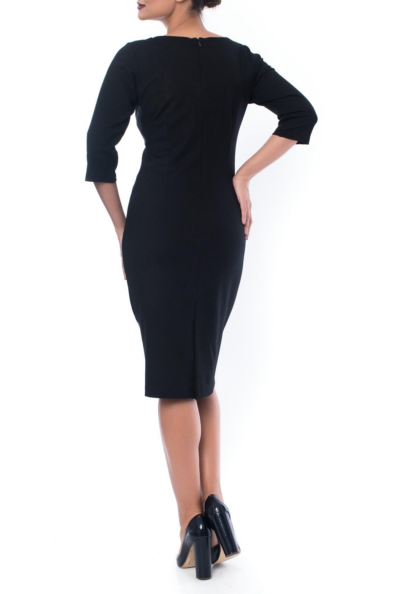 Rochie neagra cu buline din piele ecologica