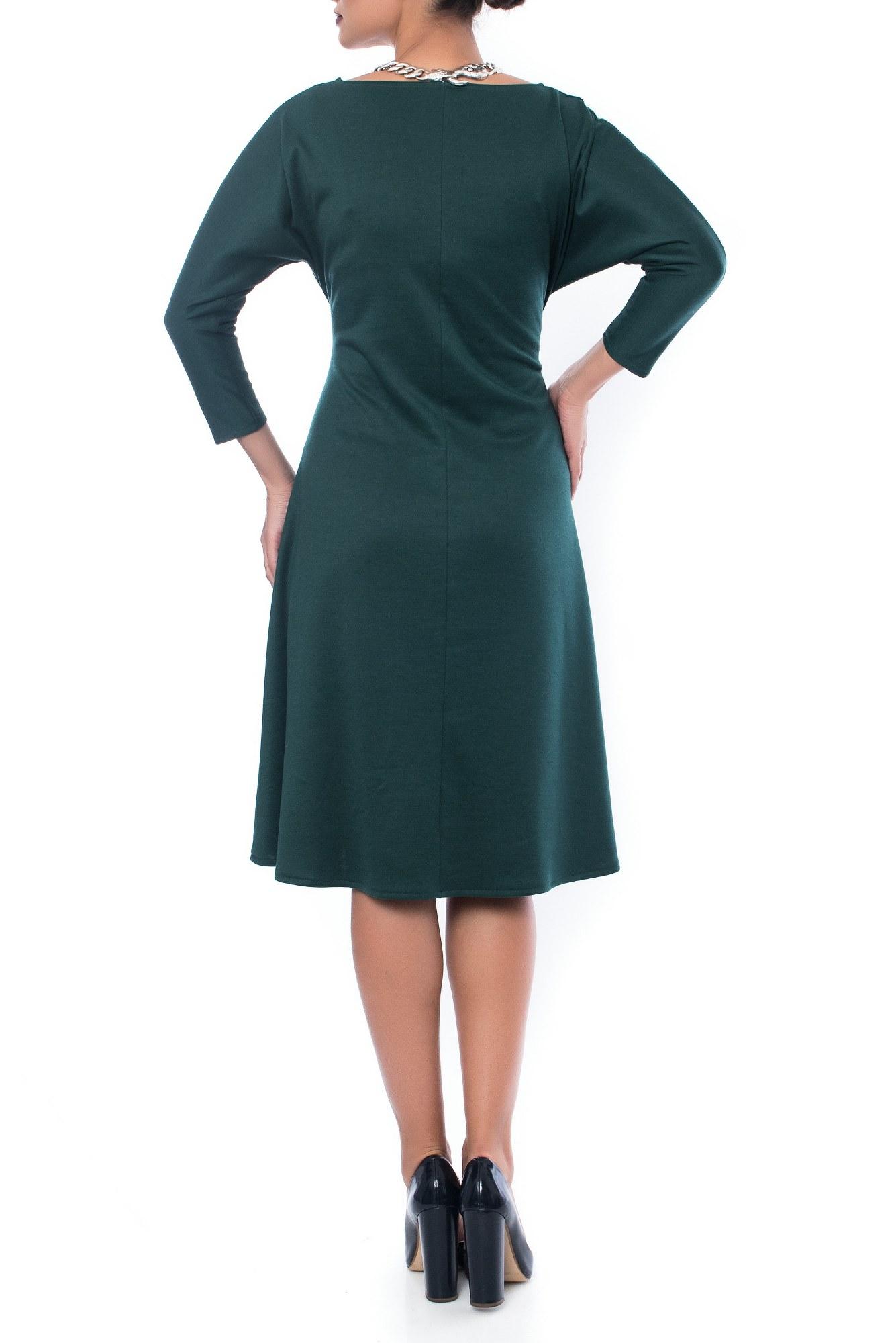 Rochie verde cu pliu din jerse