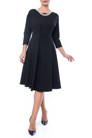 Rochie neagra eleganta cu pliu din jerse