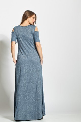 Rochie albastru denim lunga cu decupaje umeri si buzunare