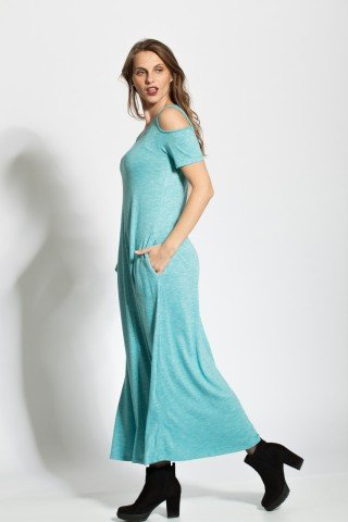 Rochie baby bleu lunga cu decupaje umeri si buzunare