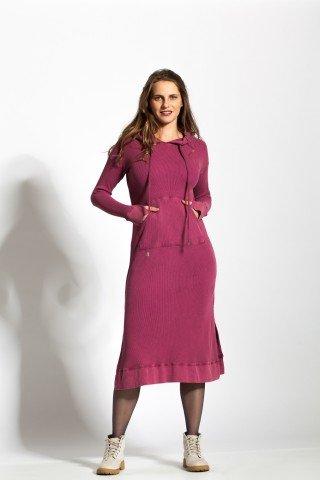 Rochie roz parma tricotata cu gluga si buzunare