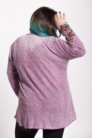 Bluza lila casual cu broderie si buzunare