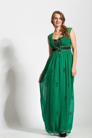 Rochie verde eleganta Tintorento brodata