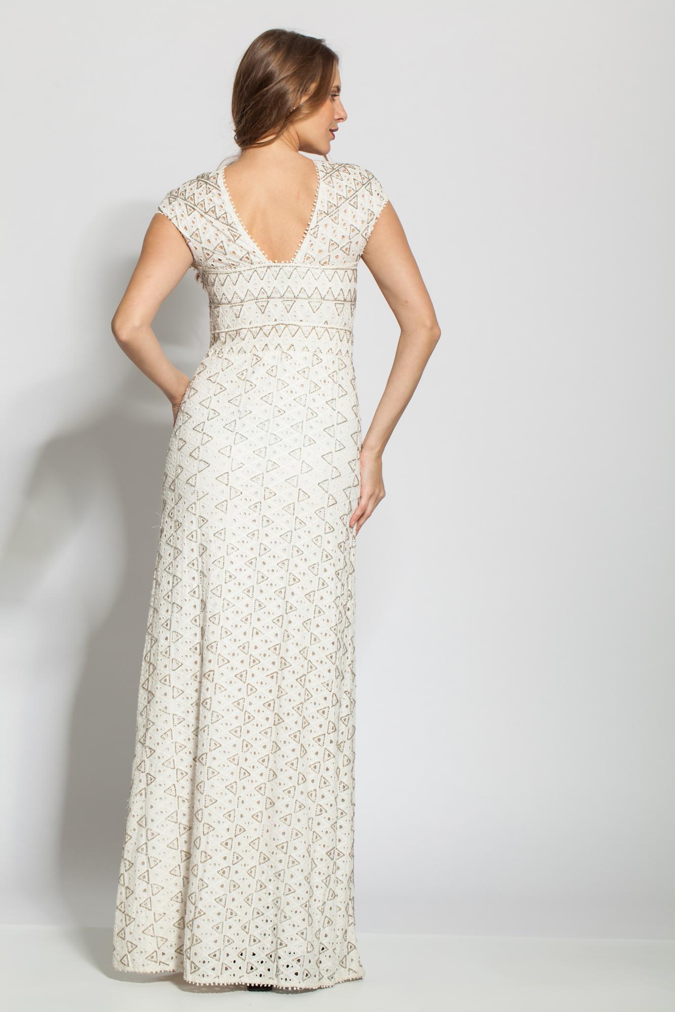 Rochie alba eleganta Rania accesorizata