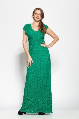 Rochie verde eleganta Rania accesorizata