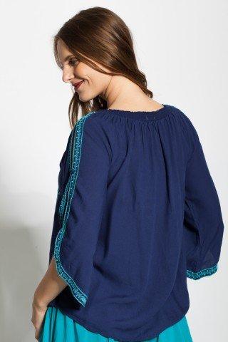 Bluza bleumarin tip iie cu broderie bleu