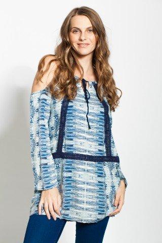 Tunica alba imprimeu bleu si decupaje umeri