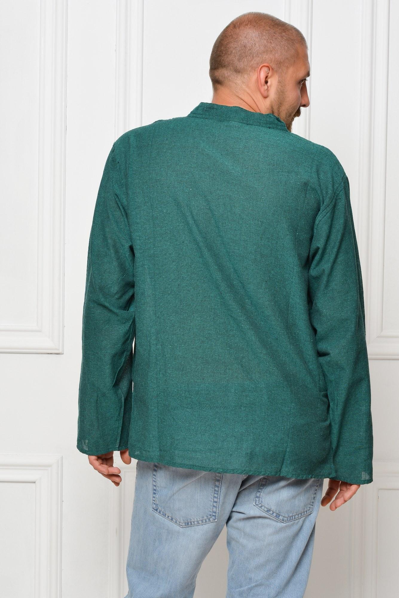 Camasa de bumbac cu maneca lunga - simbol OHM (verde)