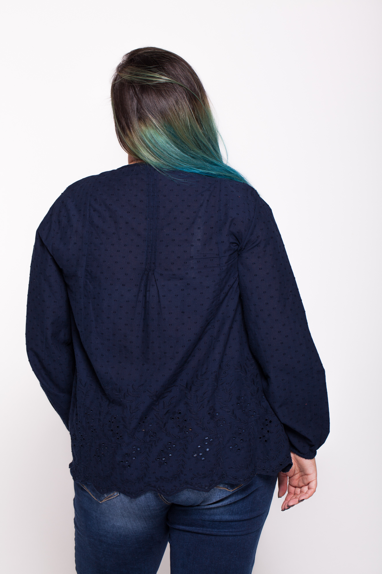 Bluza bleumarin bumbac Randa brodata
