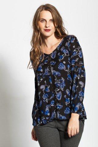 Bluza neagra vascoza cu imprimeu albastru paisley