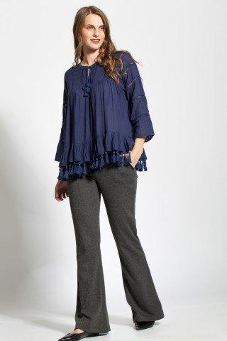 Bluza bleumarin casual Amira cu ciucuri