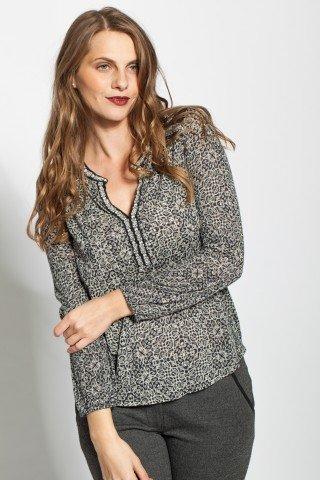Bluza neagra casual Mahima imprimata