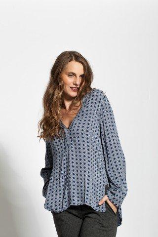Bluza bleumarin vascoza cu imprimeu alb si anchior