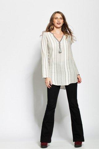 Bluza alba bumbac cu dungi gri si anchior