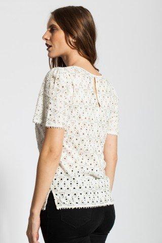 Bluza alba eleganta Rania brodata cu margele