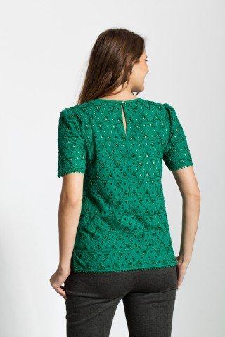Bluza verde eleganta Rania brodata cu margele