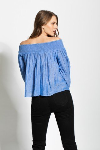 Bluza blue cu maneci evazate Hazel