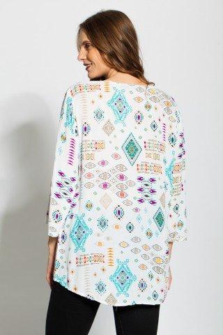 Tunica alba imprimata geometric cu ciucuri