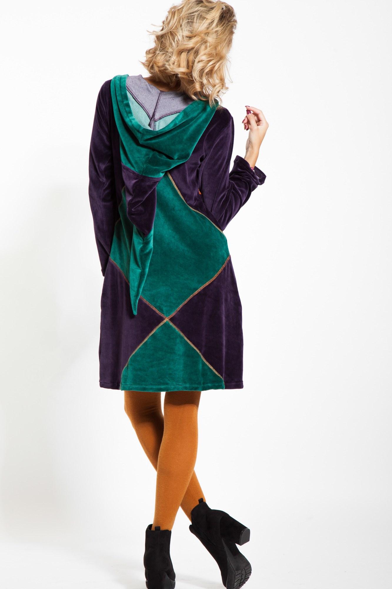 Rochie casual catifea verde cu gluga de elf