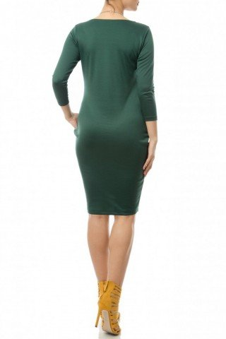 Rochie verde cu buzunare din jerse