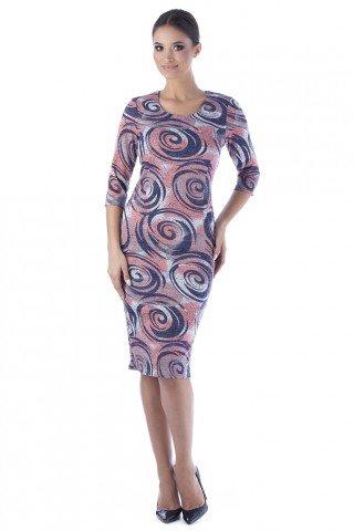 Rochie conica cu imprimeu multicolor