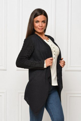 Cardigan negru casual cu maneci tricotate