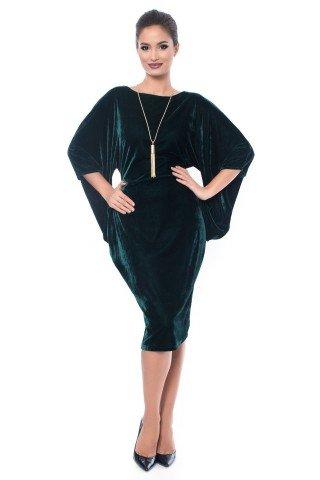 Rochie verde din catifea de seara cu decupaje