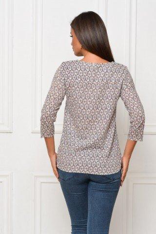 Bluza alba vascoza cu imprimeu geometric