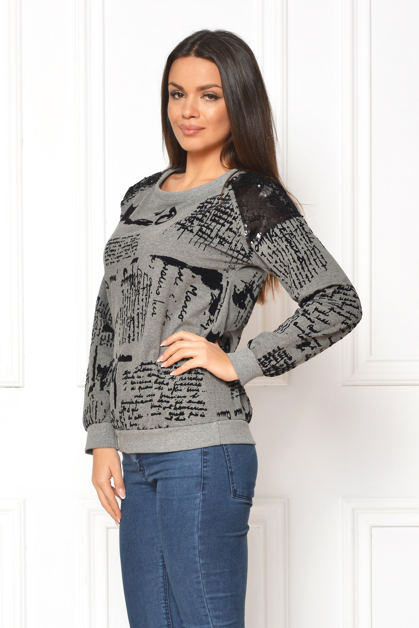 Bluza gri casual print urban de catifea