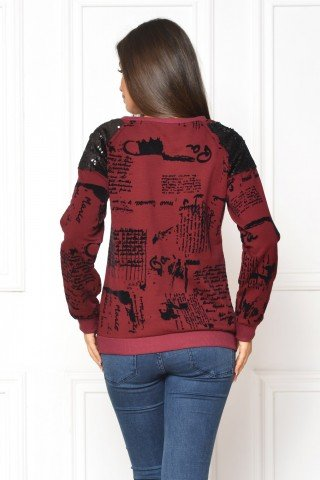 Bluza visinie casual print urban de catifea