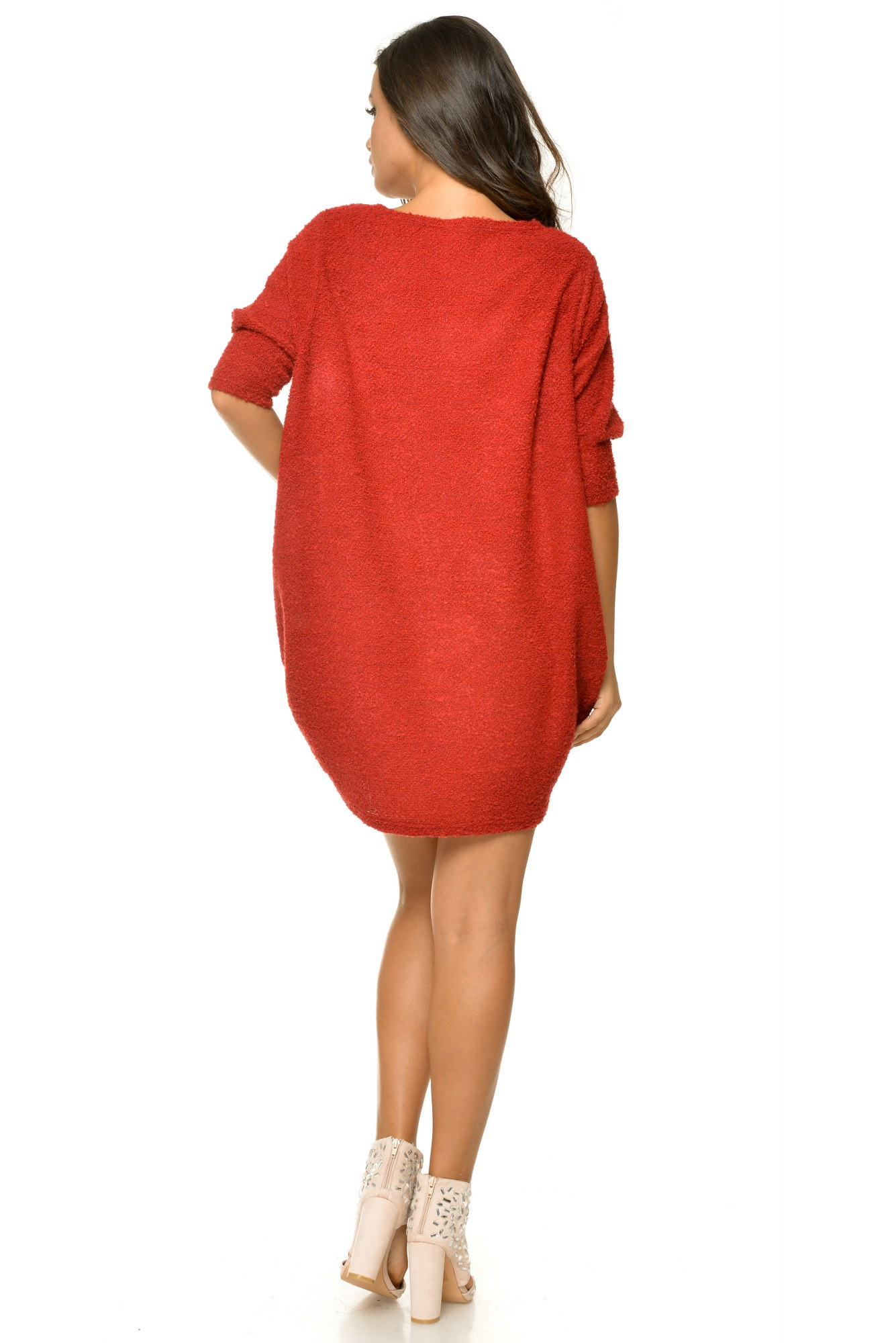 Tunica rosie casual tricotata