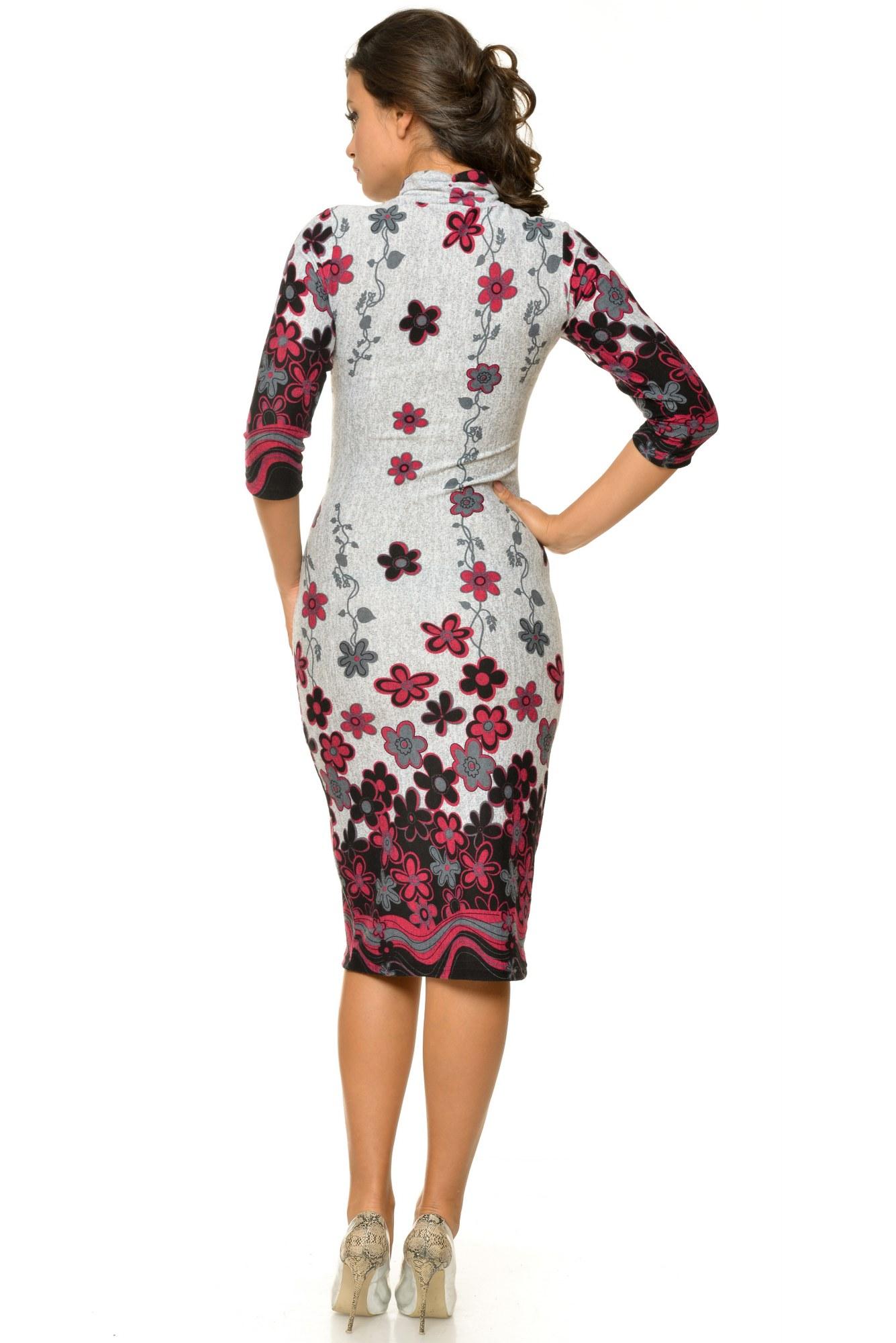 Rochie gri cu flori imprimate