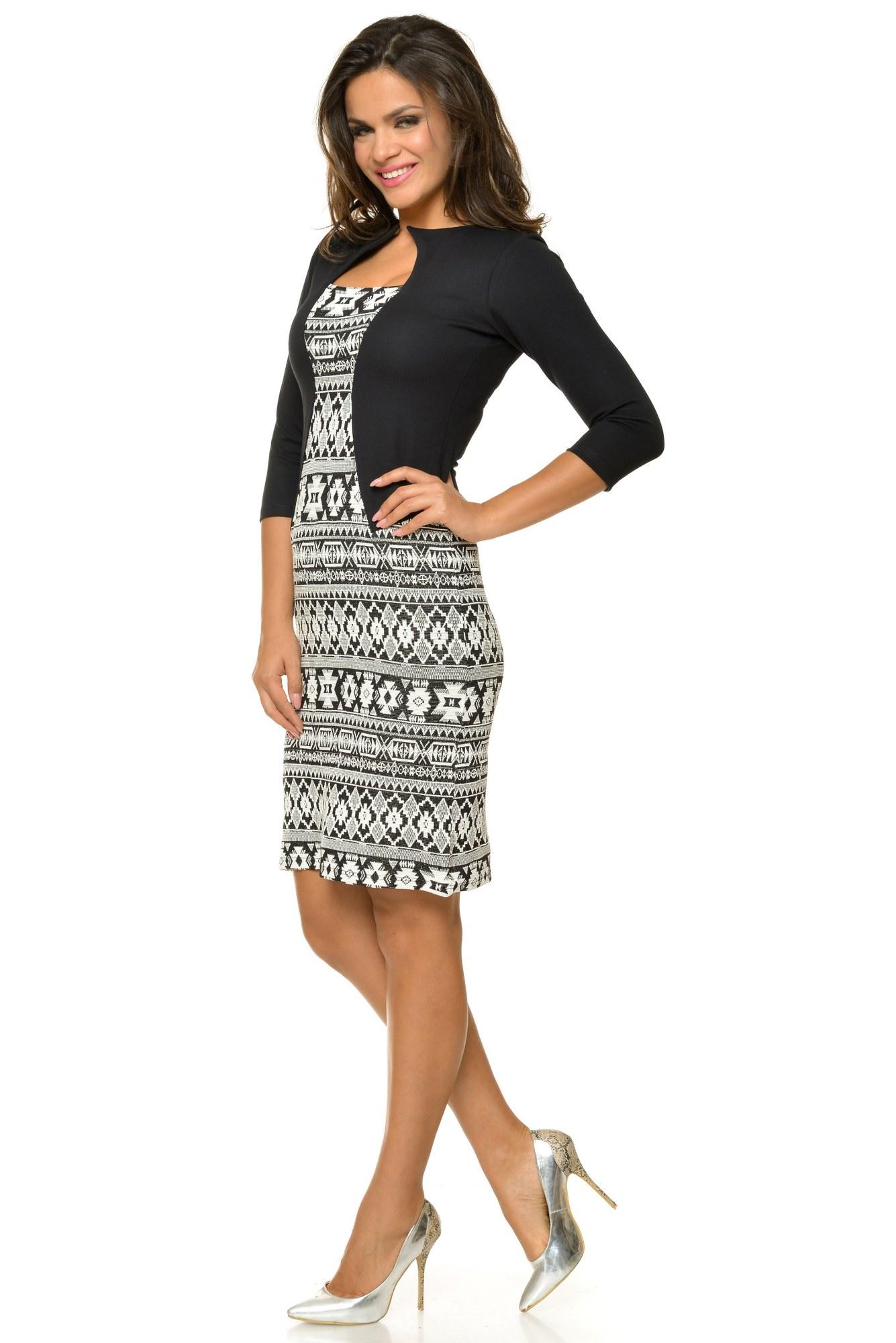 Rochie alb-negru office Natalee imprimata