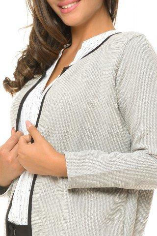 Jacheta gri eleganta cu bordura neagra
