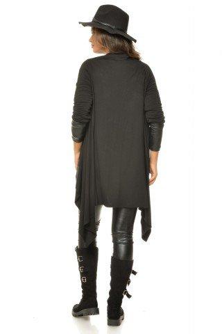 Cardigan negru vascoza Natalee asimetric