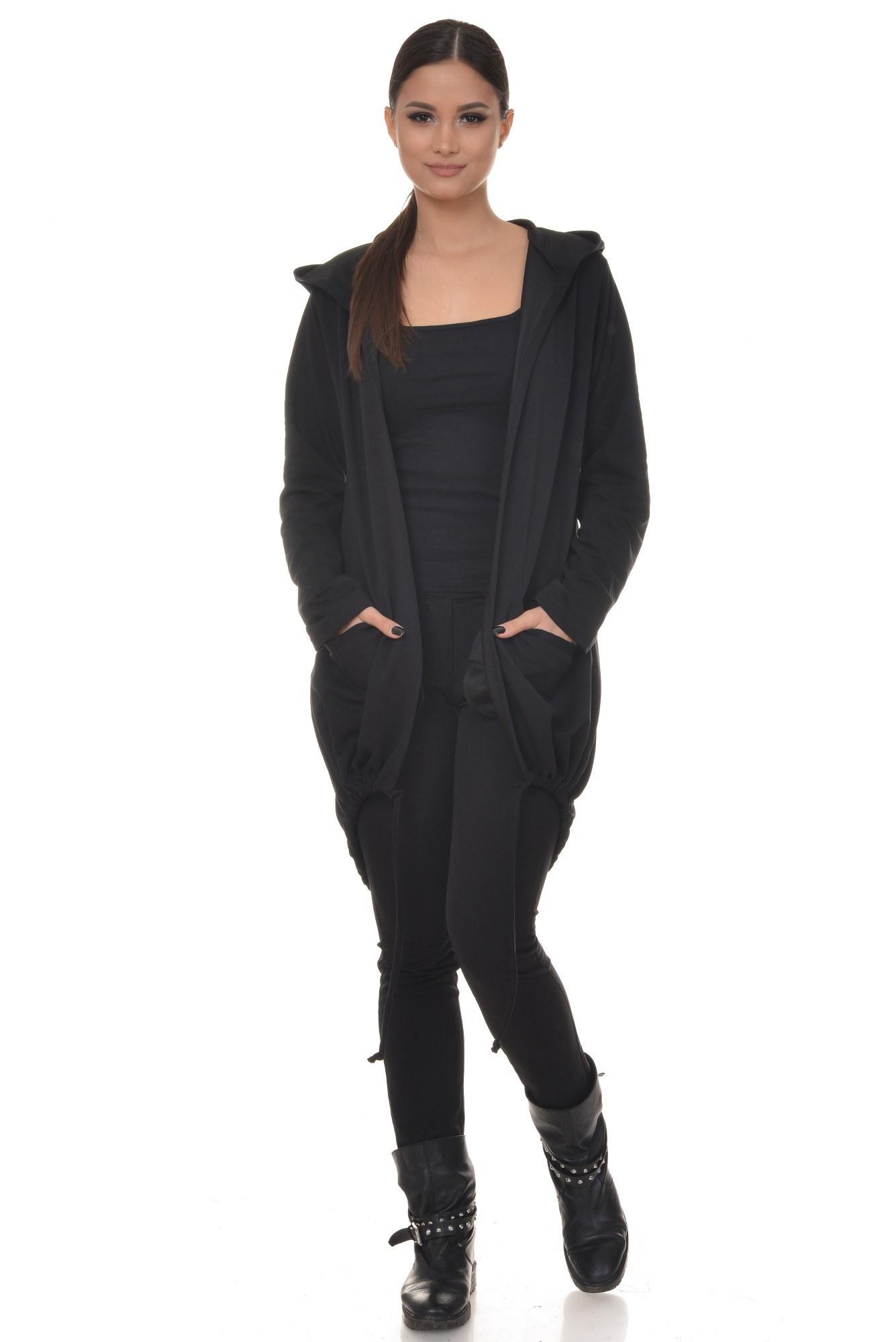 Cardigan negru cu buzunare si gluga
