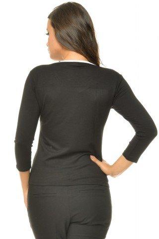 Bluza neagra vascoza imprimeu alb