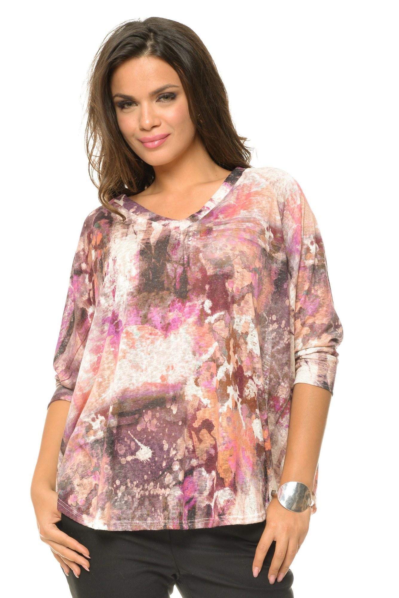Bluza casual cu imprimeu multicolor