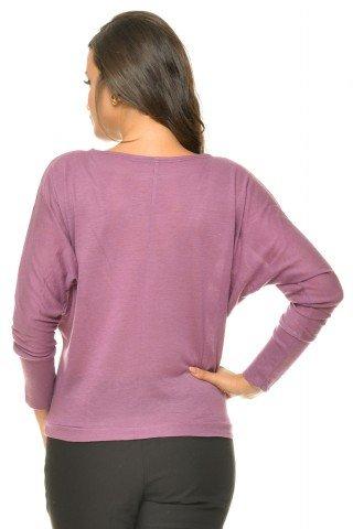 Bluza casual violet maneca lunga