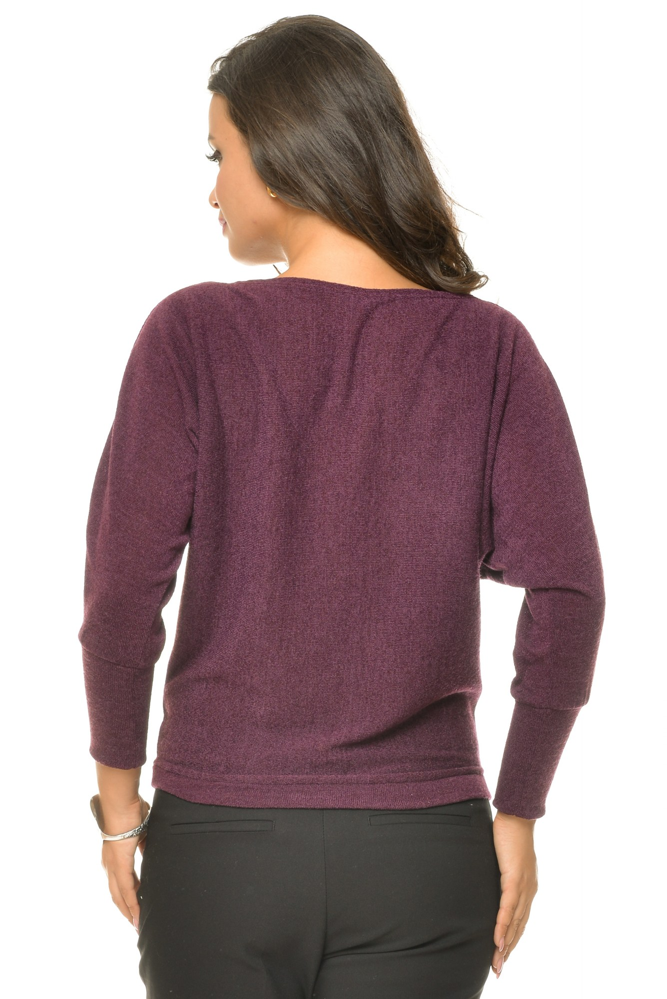 Bluza casual purple maneca lunga