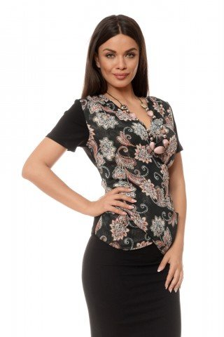 Bluza neagra imprimeu floral