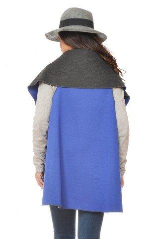 Vesta albastra casual rotunda