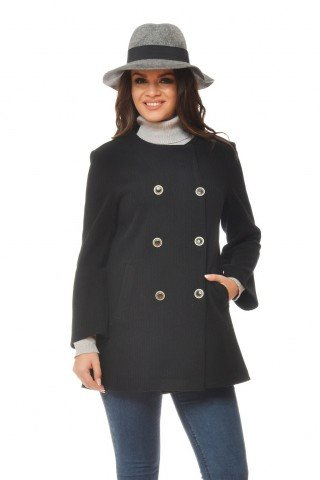 Jacheta neagra militar cu buzunare si nasturi